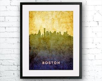 Boston illustration Art Print, Boston painting, United States Massachusetts art, poster, cityscape, city art, urban,city wall art