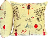Paris throw pillow cover – 20x20 – Woven jacquard cushion cover – Goldenrod black red pillow sham – French embroidery sofa toss Livingroom