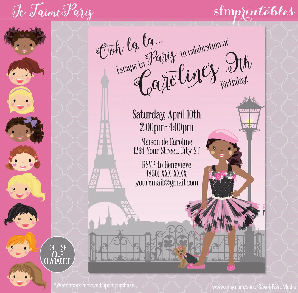 100 paris birthday party invitations passport and ticket in