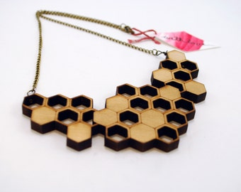 Honeycombs - Wooden Laser Cut Necklace