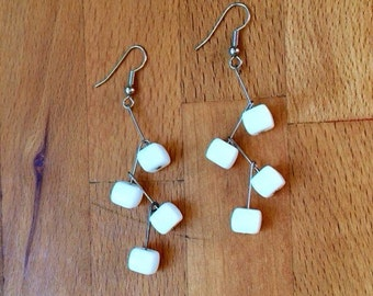 white cube zig-zag earrings