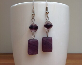 Purple swirl and ball earrings
