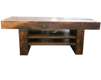 Chunky Wooden Big TV Stand With Shelves/Drawer Option