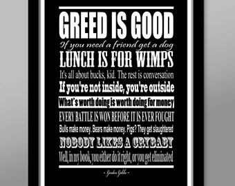 Wall Street // Gordon Gekko Quote Poster - Print 320 - Home Decor