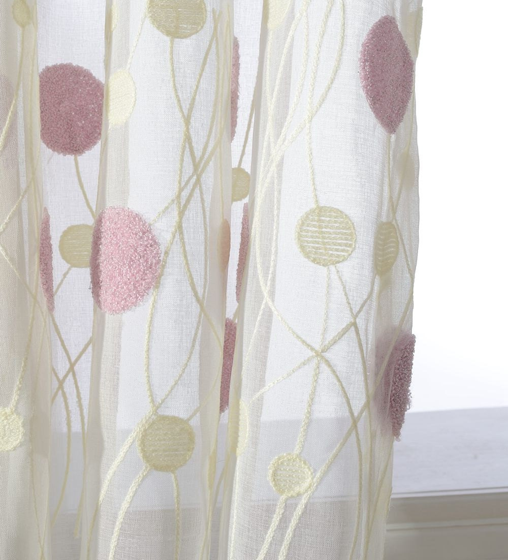 Open window with curtains blowing - Pinkish Purple Cream Ivory Two Toned Balloon Dot Embroidery Sheer Curtain Made To Order Up To 104 Long Soft White Background