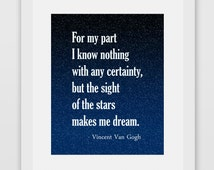 For My Part I Know Nothing With Any Certainty, But The Sight Of The Stars Makes Me Dream. Vincent Van Gogh Quote Print