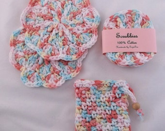 spa set, scrubbies, large scrubbies, soap saver,wash cloth