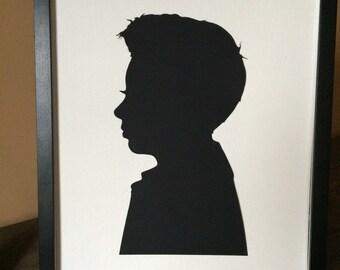"Framed Silhouette Art: 14 x 17"" Unique Gift Custom Silhouette Picture, Custom Hand Cut Silouhette Portrait"