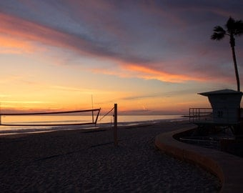Painted Skies, Sunset, Beach, Lifeguard Tower, Palm Tree, Volleyball Net, Carlsbad, California
