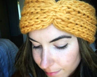 SALE: 50% off cinched turban headwrap in goldenrod