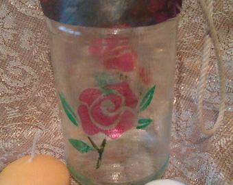 Rose Painted Jar Lantern
