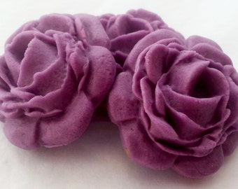 Set of 12 purple Full Bloom Roses - edible sugar flower cake topper decorations 3cm