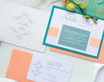 """Blissful Invitation Suite – Coral and teal wedding invitation suite from the Simply Sleek Designs """"Simply Chic Collection"""""""