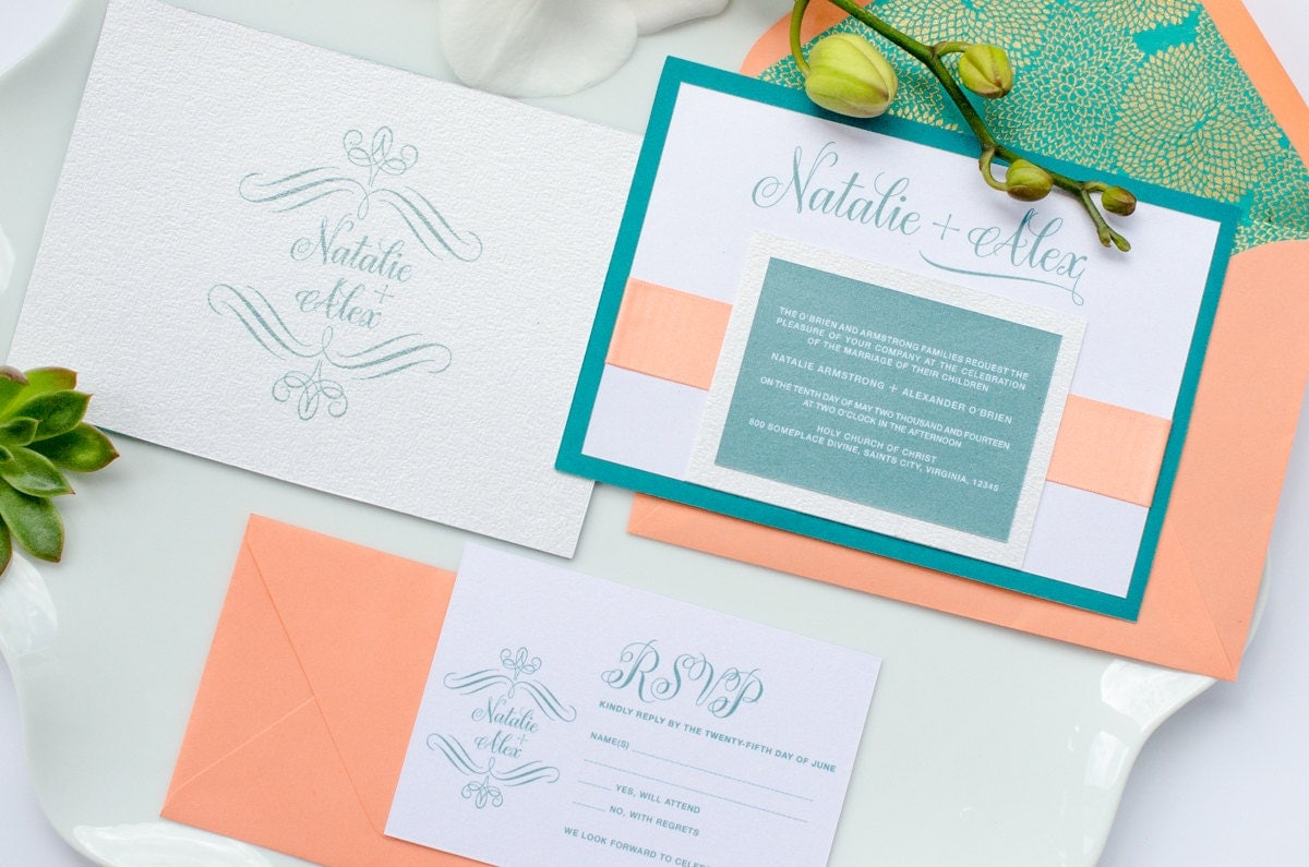 Coral And Teal Wedding Invitations: Blissful Invitation Suite Coral And Teal Wedding Invitation