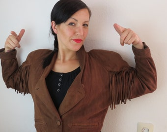 Leather jacket with fringe, Gr. 40, 80ties, vintage