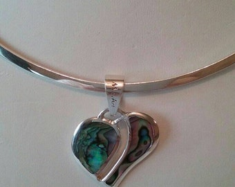 925 Sterling Silver oval see throw heart shape pendant with italian abalone shell