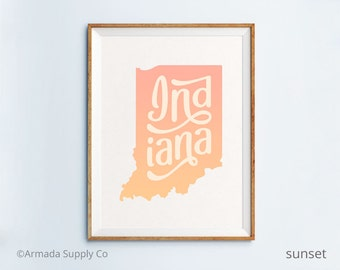 Indiana print - Indiana art - Indiana poster - Indiana wall art