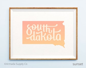 South Dakota print - South Dakota art - South Dakota poster - South Dakota wall art