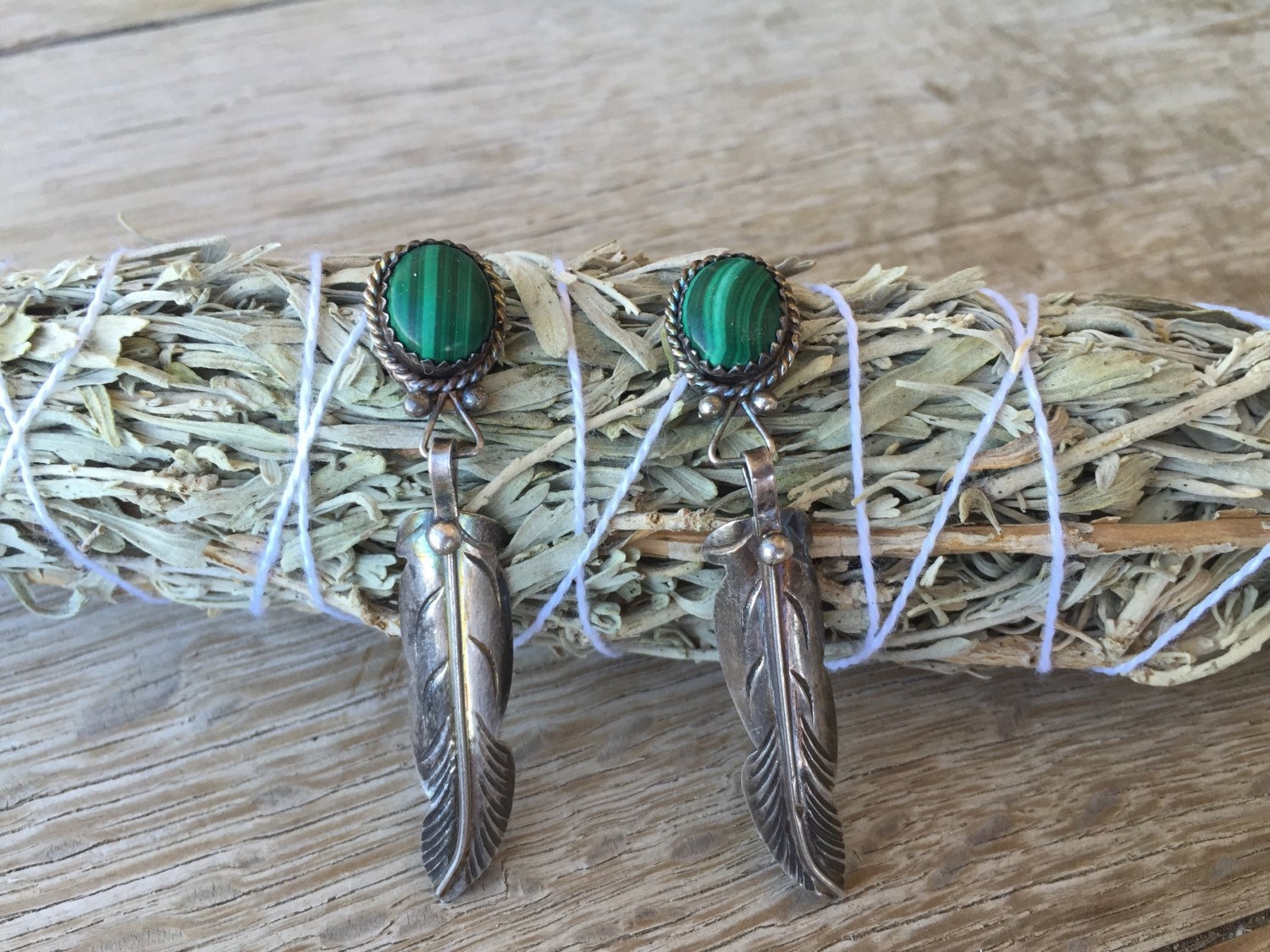 Vintage native american feather earrings sterling by for Native american feather jewelry