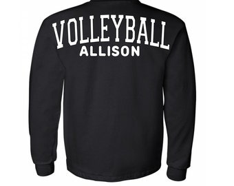 Volleyball spirit style regular long sleeve shirt,oversized decal on the back,small logo on the front,custom name volleyball shirt