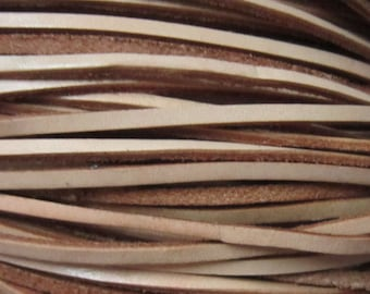 3x2mm Natural color Genuine leather cord Flat leather strip - 3meters