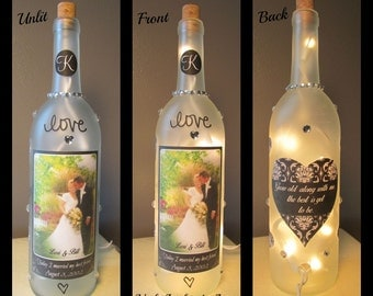 Personalized Wedding Wine Bottle Night Light
