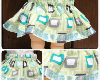 Baby - Green/gray square skirt w/satin trim accented with owls (3-6 months)