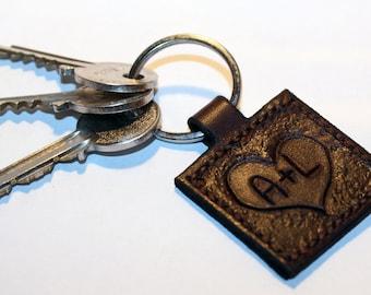 Personalized leather key chain , anniversary gift, custom keychain, great handmade leather gift, heart key chain