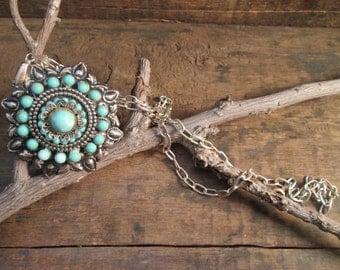 vintage southwest style antique silver tone faux turquoise necklace
