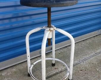 Vintage industrial drafting stool steampunk screw adjustable metal