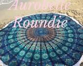 Roundie boho beach emerald blue mandala blanket with white hippie fringes