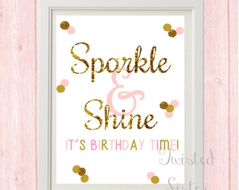 Pink and Gold Birthday Decorations, Pink and Gold Birthday Sign, Birthday Party Decor, Pink and Gold Birthday Decor, Sparkle and Shine, Gold