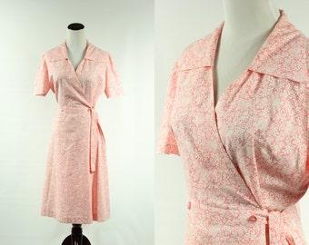 40s Pink Rose Cotton Wrap Dress