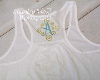 Monogrammed Gathered Racer Back Tank Top for Women--Womens fitted Monogrammed Tank Top Summer Work Out