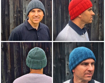Men's Watch cap - chapeau, knitted winter hats, hunting, men's gift idea, mens wool hat, Black hat, Red hat, Knitted hat men