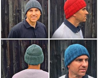 Watch cap, winter hat, knitted hat mens wool hat, red hat, black wool hat, blue hat, toque, knitted hunting, men's gift idea, mens chapeau