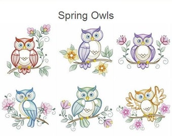 Spring Owls - Machine Embroidery Designs Instant Download 4x4 5x5 6x6 hoop 10 designs SHE5081