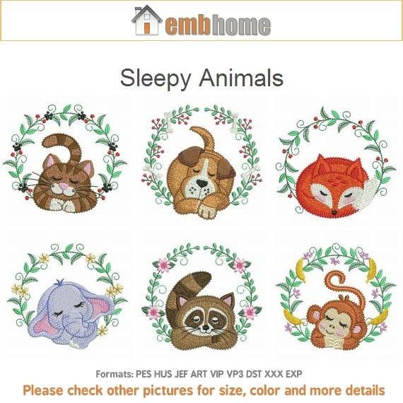 Sleepy animals machine embroidery designs instant download