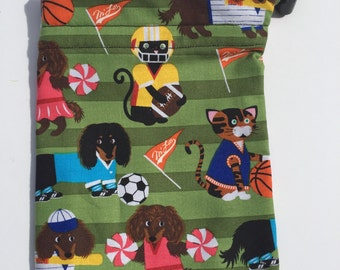 Drawstring Pet Bag, Puppy Training, Dachshund Gift, Dog Treat Bag, Dog Walk Bag, Pet Accessories, Weenie Dog Gift, Sausage Dog Fabric