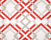 Coral Red & Grey Contemporary Fabric by the Yard Designer Cotton Curtain Drapery or Upholstery Fabric Red Grey Geometric Decor Fabric R112