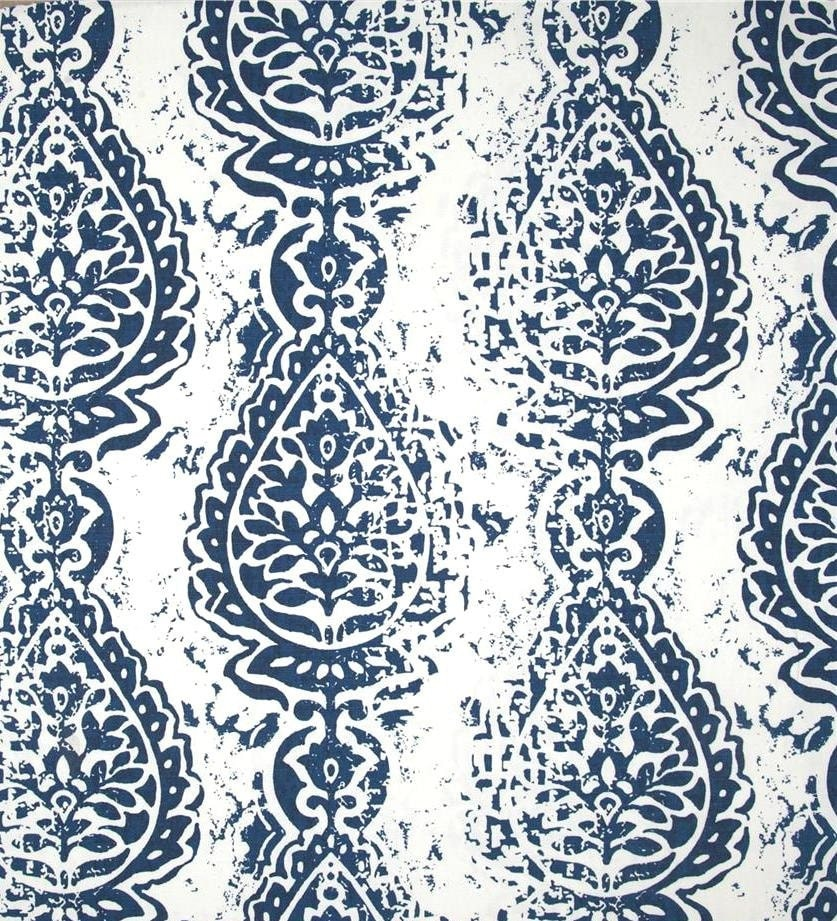 Ikat Fabric Navy Blue by the Yard Cotton Home by CottonCircle