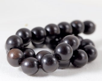 Natural genuine Ebony Wood Beads natural black beads with no dye or enhancements 15mm round with 1mm hole pack of 5 beads
