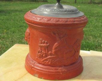Antique Tobacco Jar Humidor Red Orange Terracotta pewter Lid Deer Lion