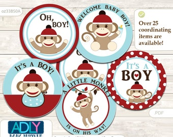 Boy Sock Monkey Cupcake Toppers for Boy Baby Shower DIY Red Blue, Retro,brown,polka,jungle, socks monkey, brown monkey with hat - oz33bs0a