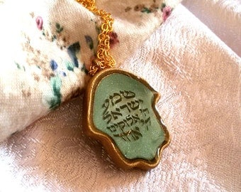 Shema Israel Hamsa. hamsa hand necklace, goldfilled chain. green necklace. shema necklace. judaica jewelry. jewish necklace. clay necklace