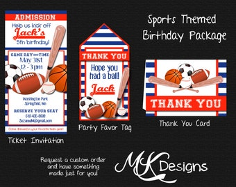 Sports Themed Birthday Package ~ Invite, Favor Tags and Thank you Cards