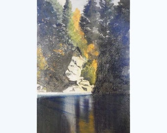 Watercolour painting. Impressionist  painting. Fine art  painting.  Reflections. River painting.
