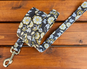 Gray and Yellow Floral Dog Leash, Dog Lead, Pet Accessories, Dog Leash, 5ft Dog Leash