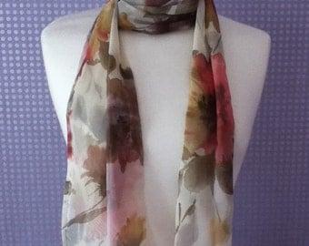Vintage autumn leaves skinny scarf