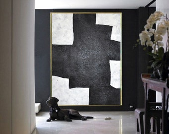 Modern Abstract Painting, Original Minimalist Art, Geometric Art, Large Canvas Art.
